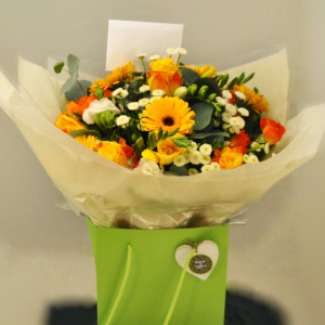 Yellow, orange and white handtied gift bouquet aqua pack